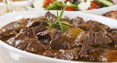 Traditional Greek lemon beef stew recipe (Moschari lemonato) - My Greek Dish Beef Stifado, Greek Lemon Potatoes, Beef With Mushroom, Lamb Stew, Beef Bourguignon, Greek Dishes, Cooking Recipes, Stuffed Peppers, Childhood Memories