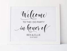 Welcome To The I Do Party, Wedding Party Sign, Wedding Welcome Sign, Wedding Reception Signs, Wedding Printables, Wedding Decor Sign