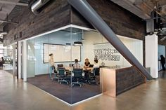 Two-wall glass lounge- see how much fun they're having inside, without disrupting the entire office!