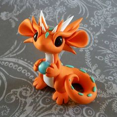 Polymer Clay Dragon, Polymer Clay Figures, Cute Polymer Clay, Cute Clay, Polymer Clay Creations, Polymer Clay Crafts, Diy Clay, Biscuit, Sculpture Clay