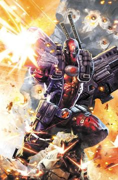 Dave Wilkins gave Deadpool a set of Cable's personal padding to wear. Epic Deadpool artwork, to say the least. Marvel Dc Comics, Marvel Vs, Captain Marvel, Marvel Heroes, Comic Book Characters, Comic Book Heroes, Marvel Characters, Comic Character, Best Comic Books