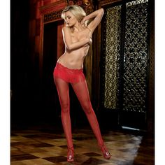 dreamgirl red fishnet pantyhose with fringe top