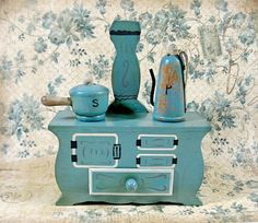 1950s Enesco Wooden Stove Salt and Pepper Shakers in Teal Wood. $30.00, via Etsy. I love this!