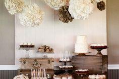 vintage white & brown dessert table