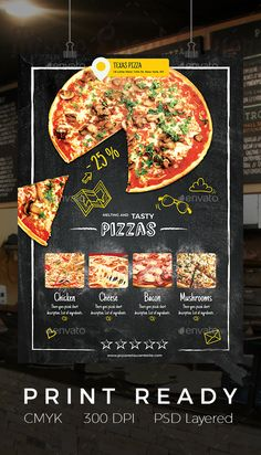 Pizza Restaurant Flyer — Photoshop PSD #mushrooms #promotion • Download ➝ https://graphicriver.net/item/pizza-restaurant-flyer/19286540?ref=pxcr
