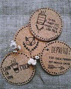 Cork coasters now in the shop! Pyrography designs.  #handmade #coasters #cork #pyrography #woodburning #makersgonnamake #makersmovement #craftswoman #etsy #etsyshop #smallbusiness #craftsposure