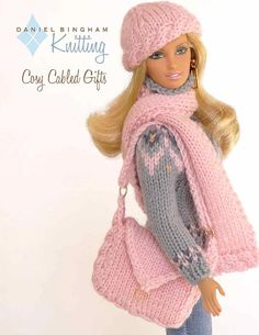 "Knitting pattern for 11 1/2"" doll (Barbie): Cosy Cabled Hat, Scarf & Bag"