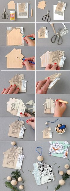 Holiday DIY to Try: Home Sweet Home Ornaments xmas house ornaments House Ornaments, Diy Christmas Ornaments, Christmas Holidays, Christmas Tree, Diy Holiday Gifts, Holiday Crafts, Diy Gifts Paper, Diy Crafts Love, Diy Papier
