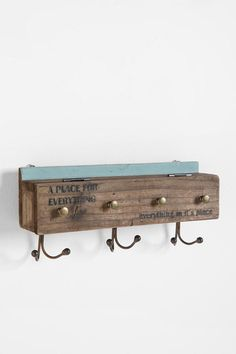 cute idea- old box/reclaimed wood, hooks and knobs!