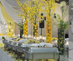 Innovative food display ideas for Indian Weddings | Indian wedding catering | Centerpieces made with lemon filled vases | DIY ideas | Indian wedding buffet ideas | Trending new food display ideas | Image source: Pinterest | Every Indian bride's Fav. Wedding E-magazine to read. Here for any marriage advice you need | www.wittyvows.com shares things no one tells brides, covers real weddings, ideas, inspirations, design trends and the right vendors, candid photographers etc.