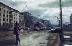 The road Picture  (2d, illustration, matte painting, war, road, nuclear, fallout, lonely, disaster, traveler, russia, post apocalyptic)