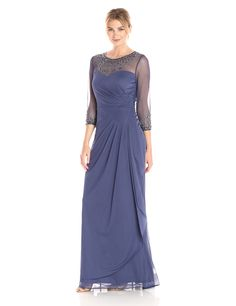 Alex Evenings Women's Long Gown with Sweetheart Neckline, Violet, 16