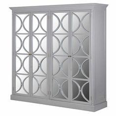 Decorative Modern Mirrored 4 Door Grey Fayence Wardrobe