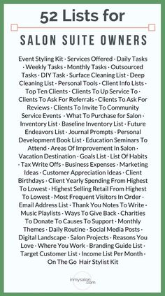 52 Lists Ideas for a Salon Suite Owner trying to get Organized As a owner trying to get organized here is 52 for when you're ready to stop living life on repeat and start taking action where you need to be! Salon Promotions, Beauty Salon Decor, Beauty Bar, Small Beauty Salon Ideas, Small Hair Salon, Beauty Salons, Beauty Makeup, The Maxx, Design Salon