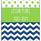 """This+a+one+page+binder+cover+titled+""""Lesson+Plans+2013-2014"""".+The+color+combination+is+navy+chevron+and+green+dots.+  *Note,+I+do+plan+to+create+mo..."""