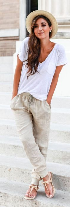 Beach Cozy White Tee Neutral Linen Pants Thong Sandals & Panama Hat Lovely Style