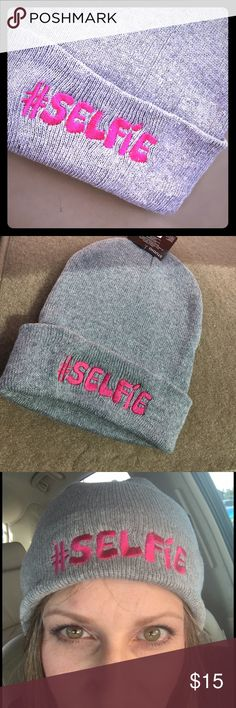 Beanie Hat Must have SELFIE beanie hat!!  One size fits all.  To cute!! Accessories Hats