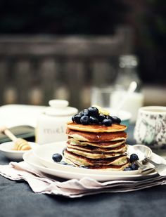 Buttermilk Pancakes with Blueberries and Syrup from Katie Quinn Davies