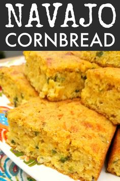 Navajo Cornbread! A rustic, savory cornbread recipe chocked full of jalapeno peppers, jack cheese, creamed corn and green onions.