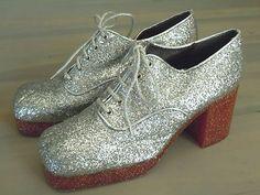 VTG MEN'S Glitter PLATFORM DISCO SHOES Sz 10 FRANCE, Hippie, Mod, RARE 60s 70s | eBay