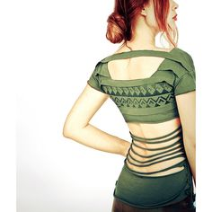 Forest olive Green Aztec stencil top, layered design, open back t... (£38) ❤ liked on Polyvore featuring tops, t-shirts, white tee, sexy tops, fitted t shirts, sexy graphic tees and white top