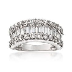 Ross-Simons - 3.00 ct. t.w. Baguette and Round Diamond Ring in 14kt White Gold - #838570