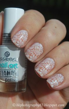 Opting for bright colours or intricate nail art isn't a must anymore. This year, nude nail designs are becoming a trend. Here are some nude nail designs. White Lace Nails, Lace Nail Art, Love Nails, Pretty Nails, My Nails, Lace Wedding Nails, Wedding Lace, Bride Nails, Nail Polish Art
