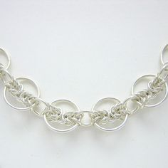 Sterling Silver Chainmaille Necklace 205 by HappyTortoiseStudios