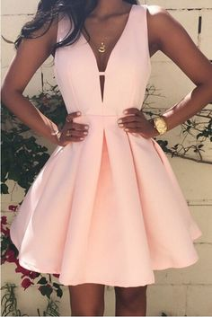 2016 Hot Helling Simple Pink Homecoming Dresses Sexy V-Neck Sleeveless Short Cocktail Prom Party Gowns with Zip Back