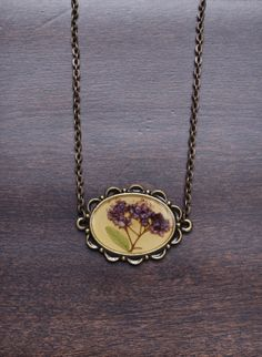 Spirea Flower Necklace Pressed Flower Jewelry Real by LOVEnLAVISH