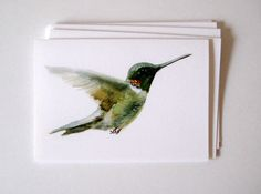 Hummingbird card art card set of 6 by VerbruggeWatercolor on Etsy