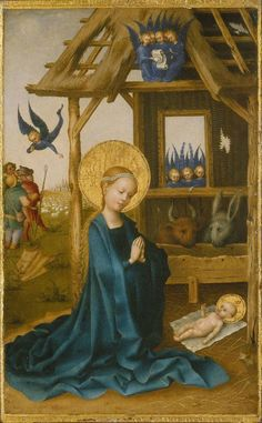 Adoration of the Child // 1445 // Stefan Lochner // Alte Pinakothek // #Jesus #Christ #Mary #Christmas #Navidad