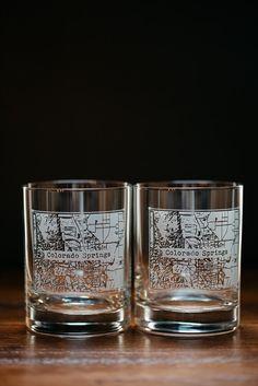 Colorado Springs College Town Rocks Glass Set