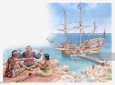 Stock Illustration : Illustration of Pocahontas and her father sitting and talking with Captain John Smith Conquistador, Native American Warrior, John Smith, Free Illustrations, Still Image, Pocahontas, Sailing Ships, Father, Pirate