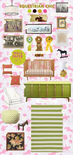 equestrian chic baby nursery style board with my ribbon! (And i kinda like the vintage mid mod route she took instead of the usual- since I equate horses with my grandparents old mid century modern house office furniture.) the-equestrienne Chic Nursery, Girl Nursery, Baby Decor, Kids Decor, Equestrian Decor, Equestrian Fashion, Equestrian Girls, Horse Show Ribbons, Chic Wallpaper