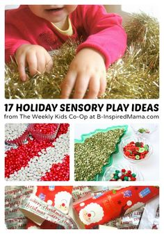 17 Holiday Sensory Play Ideas + Weekly Kids Co-Op Link Party at B-Inspired Mama