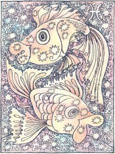 Zodiac Signs Fish Painting by Asya Ostrovsky - Zodiac Signs Fish Fine Art Prints and Posters for Sale