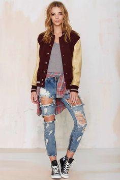 Vintage Drea Varsity Jacket - Jackets + Coats