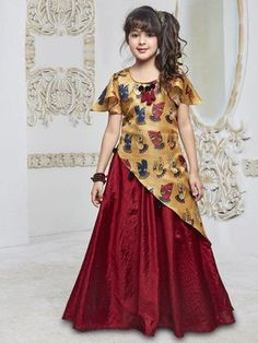Beige and maroon silk gown Kids Gown Design, Baby Dress Design, Frock Design, Frocks For Girls, Gowns For Girls, Dresses Kids Girl, Long Frocks For Kids, Kids Party Wear Dresses, Kids Dress Wear