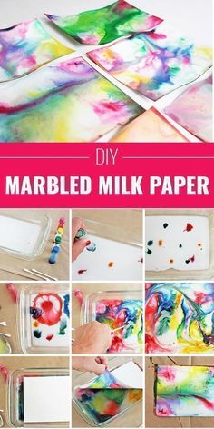 Cool Arts and Crafts Ideas for Teens, Kids and Even Adults | Cheap, Fun and Easy DIY Projects, Awesome Craft Tutorials for Teenagers | School, Home, Room Decor and Awesome Gift Ideas | Marbled-Milk-Paper | http://diyprojectsforteens.com/arts-and-crafts-ideas-for-teens #artsandcraftsforadults, #homeschoolingforteens #funartsandcrafts #homeschoolingroom #homeschoolingideasforteens #cheapkidsroomsdecor