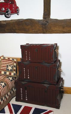 Antique Red Wood Oblong Container Storage - Set of 3