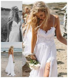www.weddbook.com everything about wedding ♥ White Spaghetti Straps A-Line Beach Wedding Dress #weddbook #wedding #dress #fashion