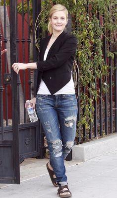 blazer over jeans + ponytail