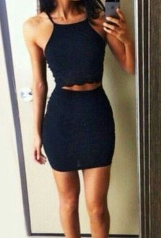 Simple Navy Blue Homecoming Dress, Halter Two Piece Short Prom Dress 0589 by RosyProm, $110.99 USD