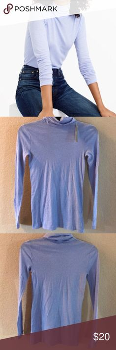"""J.crew Tissue turtleneck T-shirt, NWT, XXS J.crew Tissue turtleneck T-shirt, NWT. Size XXS. Style 17656. Retail $34.50. Color periwinkle.  Material 100% cotton. Slim fit.  Body length: 26 1/2"""".  Purchased from J.crew and never worn.  Smoke free home. J. Crew Tops"""