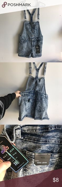 NWT Trendy Overall Shorts On trend Summer Overall Shorts, super cute! NWT!! Ordered online & just didn't return! Acid wash style, super cute with a crop top!  Size M!  Paid $12, asking $8! I LOVE to bundle, take a look at my closet! Shorts