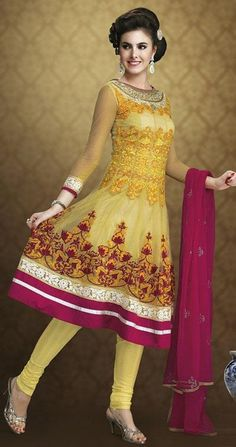 $92.72 Yellow Net Thread Work Anarkali Salwar Kameez 24372
