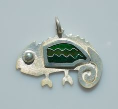Chameleon of happiness pendant in sterling silver with cloisonné vitreous enamel by Sasha Leon Sculpture & Jewellery at www.slsj.co.za