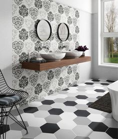 Unique Bathroom Tile to add Function and Style to Your Space - Houze Remodel Moroccon Tiles, Hexagon Tiles, Interior Decorating, Interior Design, Style Tile, Wet Rooms, Traditional Bathroom, Best Interior, Contemporary