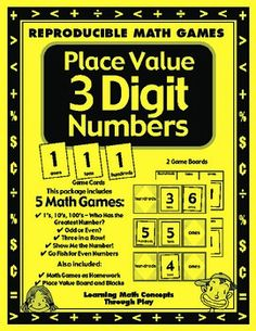 Place Value with 3 Digit Numbers - Games and Lesson Plans Math Games  This 24 page game packet contains 4 great place value games/activities. Games included in this set: Three in a row Go Fish For Even Numbers Show Me The Number Place Value Board and Blocks